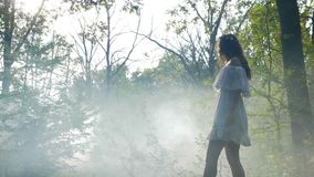 Mysterious woman wearing white dress walks in the mist fog in the woods at sunrise -. Mysterious woman wearing white dress walks in the mist fog in the woods at stock footage