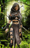Mysterious wood elf warrior in a mystical forest setting. Fantasy 3d rendering royalty free illustration