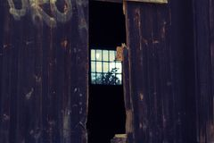 Mysterious wooden doors stock images