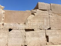 Mysterious writings on the walls of Karnak temple Royalty Free Stock Photography