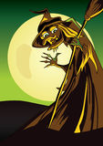 Scary Witch halloween poster with a broom waving hand. Fully resizable  illustrator AI/EPS Halloween Poster, maintained in shades of green, brown and yellow Royalty Free Stock Images