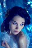 Mysterious young woman  playing the black swan Royalty Free Stock Images
