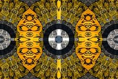 Mysteriously digital art design of interlocking circles. Digital art design. Pattern with architectural mysteriously interlocking circles in yellow green and royalty free illustration