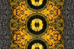 Mysteriously digital art design of interlocking circles. Digital art design. Pattern with architectural mysteriously interlocking circles in yellow green and stock illustration