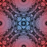 Mysteriously digital art design of interlocking pattern. Digital art design. Pattern with architectural mysteriously interlocking circles in red and blue stock illustration