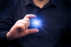 Mysteriously emitting power hand man Royalty Free Stock Image