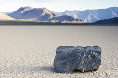 Mysteriously Moving Rocks at The Racetrack Playa in Death Valley Royalty Free Stock Photo