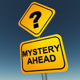 Mystery. Ahead signboard over blue sky, and a question mark over it Royalty Free Stock Image