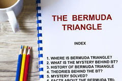 Mystery of Bermuda triangle. In a cover sheet of a lecture Stock Photography