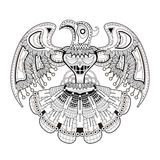 Mystery bird totem coloring page Stock Image
