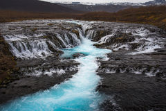 The Mystery Of The Blue Waterfall ,Bruarfoss Royalty Free Stock Photography