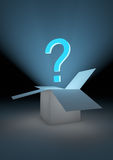 Mystery box. Render of an open box with a question mark Royalty Free Stock Image