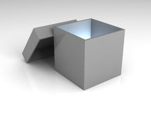 Mystery box. A gray opened box, with a blue light inside of it Stock Images
