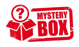 Free Mystery Box Rubber Stamp Template With Question Mark Stock Photography - 159021102