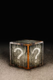 Mystery box. Wooden mystery box with question marks Royalty Free Stock Photography
