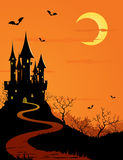 Mystery castle, full moon. Halloween background with dark castle and full moon Stock Photos