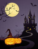 Mystery castle, full moon. Halloween background with dark castle and full moon Royalty Free Stock Photography