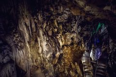 Mystery cave tunnel underground, limestone geologic. Concept Royalty Free Stock Images