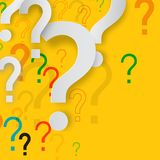 Mystery Concept with Paper Cut Question Marks. On Yellow Background. Confusion Vector Design vector illustration