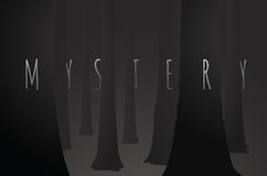 Mystery dark woods with black tree fog. Cartoon illustration of mystery word merging to trees over dark woods Royalty Free Stock Photo