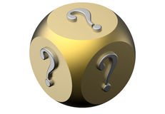 Mystery dice concept. 3D render of a dice with question symbol on each side. The composition is isolated on a white background Stock Images