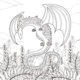 Mystery dragon coloring page Royalty Free Stock Images