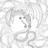 Mystery dragon coloring page Royalty Free Stock Photos
