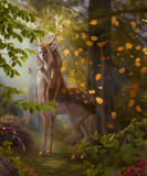 Mystery of falling leaves. The traveler met a fabulous creature in the autumn forest Royalty Free Stock Images