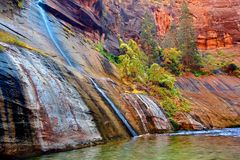 Mystery Falls Zion National Park Utah. Small stream flows into Virgin River Narrows in Zion National Park Utah Royalty Free Stock Photography