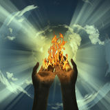 Mystery Fire. Burns in hands Stock Image