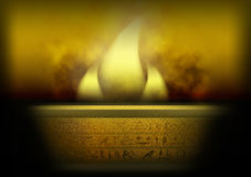 Mystery fire. Illustration with esoteric fire and hieroglyphs Royalty Free Stock Image