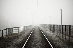 Mystery fof. The railway in mystery fog - high contrast Stock Photography