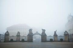 Mystery fog. Gate from Prague Castle, Czech Republic Stock Photos
