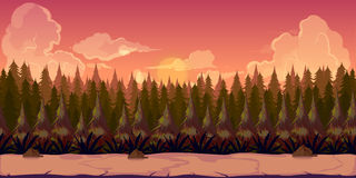 Mystery Forest 2d background. Background for games apps or mobile development. Cartoon nature landscape with forest. Vector illustration for design graphics Stock Photography