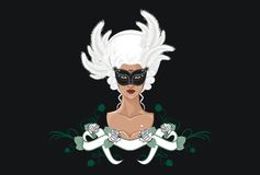 Mystery girl. With mask and roses Royalty Free Stock Photography