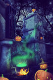Mystery Helloween landscape. Mystery Helloween night with pummpking near old gates Royalty Free Stock Photos