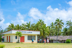 Mystery Island, Vanuatu airport. Surrounded by coral reefs Mystery Island measures less than 1 square kilometre in area, is uninhabited and a favourite stopover Stock Photo