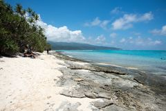 Mangroves, Mountains and Seas at Mystery Island. MYSTERY ISLAND, VANUATU, PACIFIC ISLANDS-DECEMBER 2,2016: Mangrove trees, mountain view, and rocky beach with Stock Images