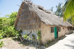 Architectural Design on Mystery Island. MYSTERY ISLAND, VANUATU, PACIFIC ISLANDS-DECEMBER 2,2016: Rustic thatched roof architecture with tropical flora under a Royalty Free Stock Photos
