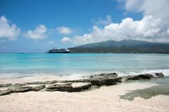 Cruising the Tropics: Mystery Island Excursion. MYSTERY ISLAND, VANUATU, PACIFIC ISLANDS-DECEMBER 2,2016: Stunning mountain landscape and Pacific Ocean views Stock Images