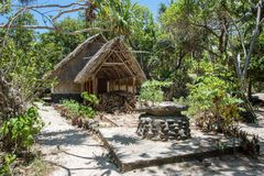 Thatched Roof Cottage at Mystery Island Royalty Free Stock Images