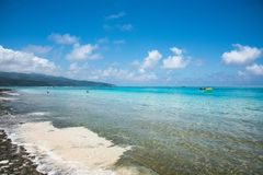 Snorkelling, Swimming and Boating: Mystery Island. MYSTERY ISLAND, VANUATU, PACIFIC ISLANDS-DECEMBER 2,2016: Tourists swimming and snorkeling in the blue Pacific Stock Photo