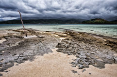 Mystery Island. The view from popular cruise ship port of call Mystery Island (Inyeug), Vanuatu across water to neighbouring Tanna Island Royalty Free Stock Image