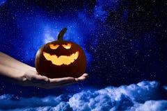 Mystery of Jack pumpkin . Mixed media Royalty Free Stock Image