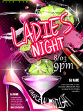 Mystery ladies night party poster design. With glitter elements Stock Photos