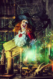 Mystery lady. Attractive witch in the wizarding lair. Fairytales. Halloween Stock Images