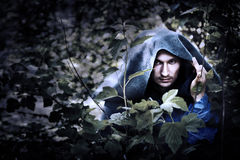 Mystery man in raincoat with hood. Mystery man in a raincoat with a hood hiding in the trees Royalty Free Stock Image