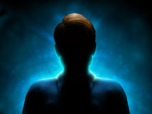 Mystery man. Silhouette of a mysterious figure with a strong blue backlight. Digital illustration Royalty Free Stock Photography