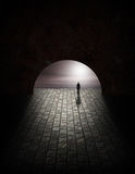 Mystery Man in Tunnel Royalty Free Stock Image
