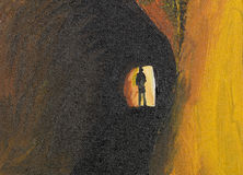 Mystery man in tunnel. Oil painting of mysteryous man in a tunnel Stock Image